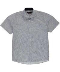 Pierre Cardin XL Short Sleeve Shirt pánské Wht/Navy Geo