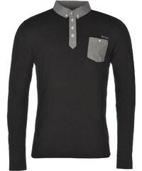 Lee Cooper Long Sleeve Chambray Polo Shirt pánské Black