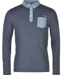Lee Cooper Long Sleeve Chambray Polo Shirt pánské Navy Marl
