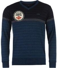 Lee Cooper Stripe V Knit Jumper pánské Ink Blue/Navy