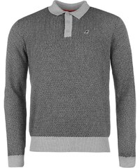 mikina Kangol Long Sleeve Jacquard Knit Polo Shirt pánská Black/Grey Marl