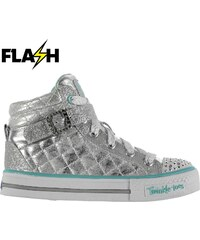 Skechers Twinkle Toes Sweet Hi Tops Child Girls Silver