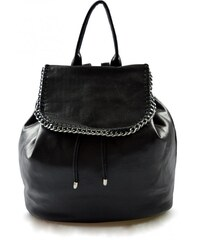 Dámský menší černý lesklý batoh Marlen 11014