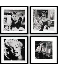 G&C gerahmte Fotografie »Celebrities Bilderset«, 4er Set: Hepburn, Bogart, Monroe, 40/40 cm