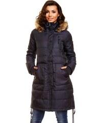 Péřová dámská zimní bunda - tmavě modrá