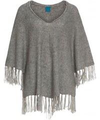 COOL CODE Damen Poncho VAusschnitt V-Ausschnitt grau mit Wolle