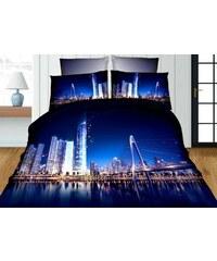 Povlečení BLUE CITY 3D set 3 ks, 1x 140x200 cm, 2x povlak 70x80 cm MyBestHome