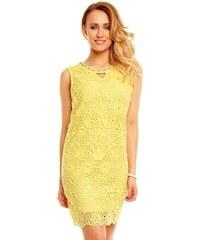 LM moda A Společenské šaty s krajkou žluté HS231 48a3f65d55