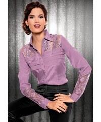 Damen Bluse mit transparenten Spitzeneinsätzen LADY lila 36,38,40,42,44,46,48,50,52,54