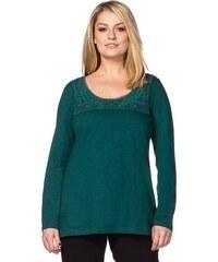 SHEEGO STYLE Damen Style Langarmshirt mit Spitze am Rundhalsausschnitt grün 40/42,44/46,48/50,52/54,56/58