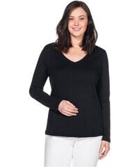 SHEEGO CASUAL Damen Casual BASIC Shirt V-Ausschnitt schwarz 40/42,44/46,48/50,52/54,56/58