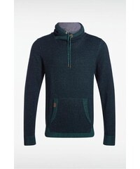 Pull homme col montant maille bicolore Vert Coton - Homme Taille L - Bonobo