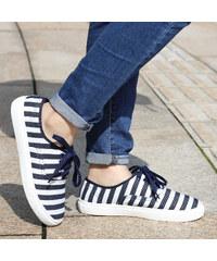 Lesara Stoff-Sneaker mit Streifen-Muster - 35