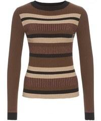 Livre Damen Pullover Sweatshirt körperbetont gestreift braun aus Baumwolle