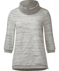 Cecil Sweatshirt mit Volumenkragen - stripy grey melange, Herren