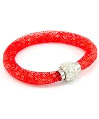 Murano Náramek dutinka s krystalky z broušeného skla - červená - Tubo Conteria