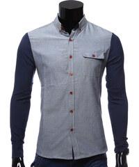 Re-Verse Slim Fit-Hemd mit abgesetzten Ärmeln - Dunkelblau - M