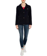 Modrý pletený blazer se zapínáním na dva knoflíky|L Soccx 251730