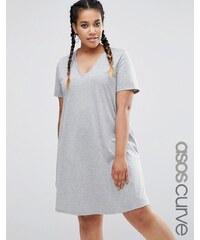 ASOS CURVE - Ausgestelltes T-Shirt-Kleid mit V-Ausschnitt - Grau