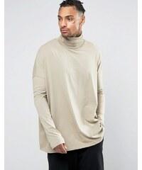 ASOS - T-shirt ultra oversize à manches longues et col cheminée - Beige