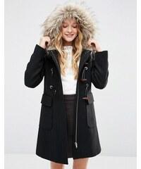 ASOS - Duffle-coat en laine mélangée avec capuche en fausse fourrure - Noir