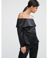 ASOS - Blazer glamour satiné à épaules dénudées - Noir