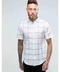 Farah - Chemise slim manches courtes à carreaux - Blanc