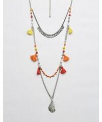 Glamorous - Mehrlagige Halskette mit Quasten - Silber
