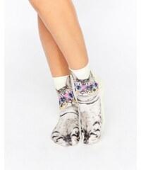 Monki - Chaussettes à motif chat - Blanc