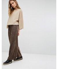 Paisie - Melierte Hose mit weitem Beinschnitt, gefaltetem Design und Ledergürtel - Braun