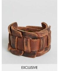 Reclaimed Vintage - Bracelet manchette tissé en cuir - Marron