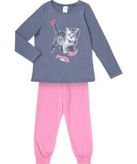 SANETTA Pyjama mit Katzen-Print und Glitter-Effekt