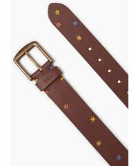 Esprit Vyšívaný pásek z hladké buvolí kůže