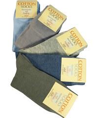 Cotton Socks Dámské jednobarevné ponožky z bavlny - 5 párů 35-38 MIX