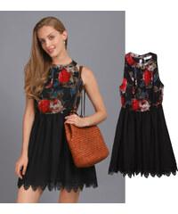 Lesara Kurzes Kleid mit Spitzensaum & Blumen-Muster - S