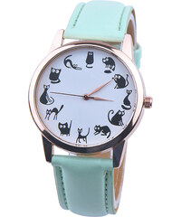 Lesara Armbanduhr mit Katzen-Motiven als Ziffern - Mint