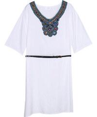 Lesara Kurzes Kleid mit verziertem Ausschnitt & Gürtel - Weiß - S