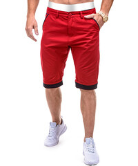 Lesara Chinoshorts mit Kontrast-Beinumschlag - Rot - 30