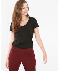 T-shirt basique col V noir, Femme, Taille L -PIMKIE- MODE FEMME