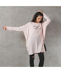 Lesara Oversize-Sweater mit Unendlichkeitsprint - Rosa - S