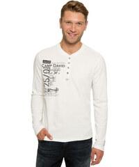 Bílé tričko s dlouhým rukávem a všitým nápisem|XL Camp David 180887