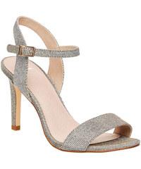 Baťa Stříbrné sandály na jehlovém podpatku