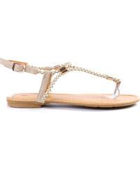 Lesara Zehentrenner-Sandale mit geflochtenen Riemen - Beige - 36