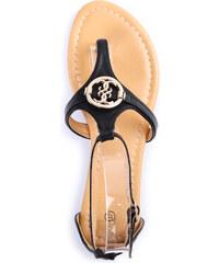 Lesara Zehentrenner-Sandale mit runder Verzierung - Schwarz - 36