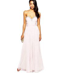 Luxusní dlouhé společenské pudrové šaty Lipsy VIP