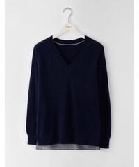 Pullover mit V-Ausschnitt und Zierschlitz Navy Damen Boden