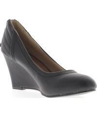 Chaussmoi Chaussures escarpins Compensées femme noires à talon de 7,5cm aspect cuir coutures