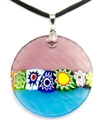 Murano Náhrdelník skleněný šperk - fialová, modrá - Battuti