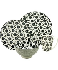 Single Geschirr-Set Steinzeug 4-teilig Dekor Flower New Style black CreaTable schwarz