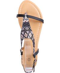 Lesara Zehentrenner-Sandale mit Azteken-Muster - Schwarz - 36